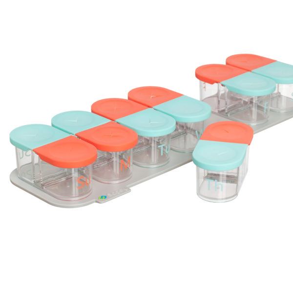 Sagely weekly pill organizer in red and coral