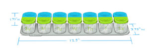 Sagely weekly pill organizer dimensions in blue and green