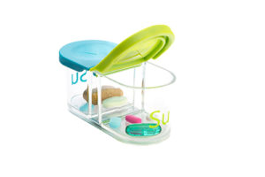 Sagely weekly pill organizer in blue and green