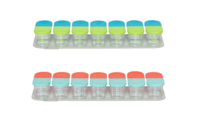 Sagely weekly pill organizer in blue and green and coral and red