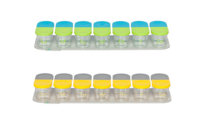 Sagely weekly pill organizer in blue and green and yellow and gray
