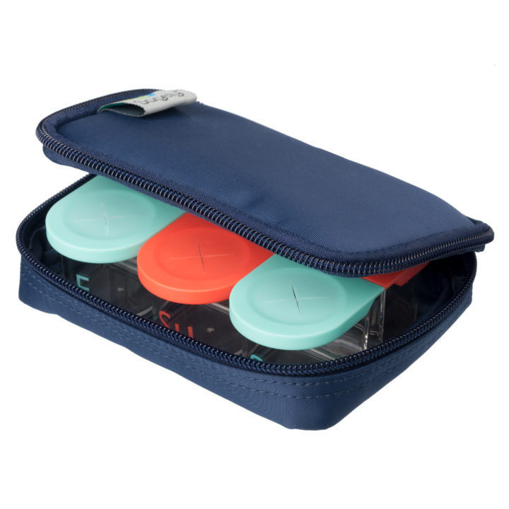 Sagely weekly pill organizer in coral and red