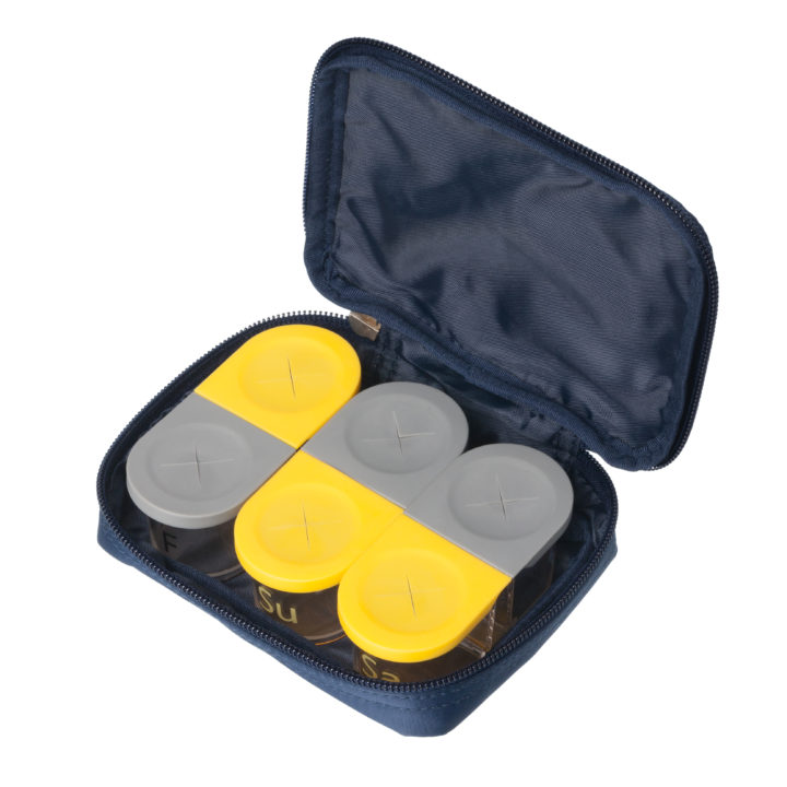 Sagely weekly pill organizer in yellow and gray
